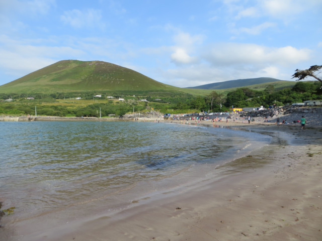 View of hill overlooking Kells beach and standing on Kells beach County Kerry