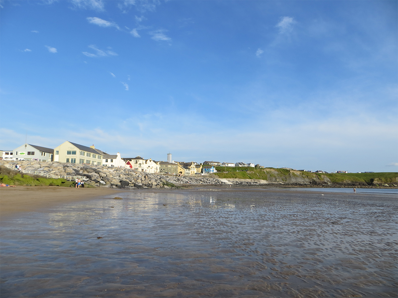 Lahinch Beach from the strand with the town in the background, County Clare