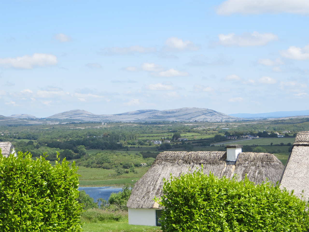 Thatched Cottage with the Burren in the background
